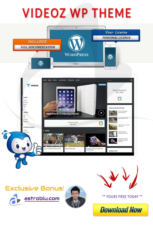 Exclusive Bonus Videoz WordPress Theme
